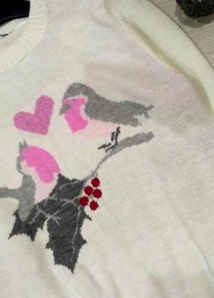 Нежный  удлиненный свитер оверсайз с птичками размер 10-14 (42-46)2 фото