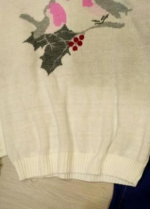 Нежный  удлиненный свитер оверсайз с птичками размер 10-14 (42-46)3 фото