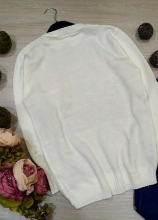 Нежный  удлиненный свитер оверсайз с птичками размер 10-14 (42-46)4 фото
