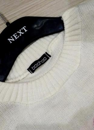 Нежный  удлиненный свитер оверсайз с птичками размер 10-14 (42-46)5 фото