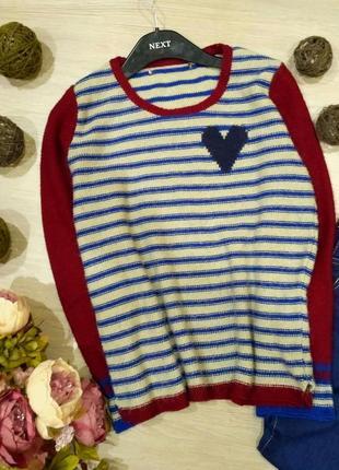 Яркий свитер в в полоску с сердцем размер 12-14 (44-46)