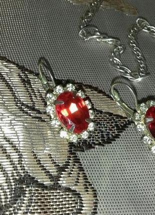Серьги красные серебристые