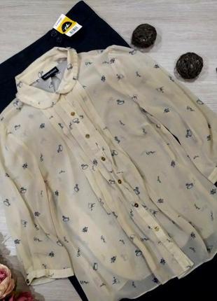 Нежная блуза принтом туфельки лошадки размер 14(44-48)