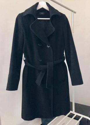Чёрное классическое двубортное пальто по колено шерсть