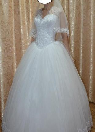 Красивенное свадебное платье ( + подъюбник )