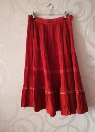 Яркая красная юбка, винтаж, ретро, юбка-миди этно-стиль, юбка в народном стиле, гофре