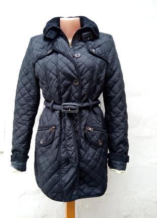 Стильная черная стеганая куртка с вельветовой оторочкой,ветровка,жакет.