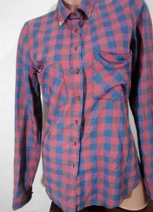 Рубашка батник в клетку с принтом на спине s/m