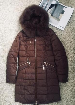 Шикарный зимний пуховик с мехом symonder dior