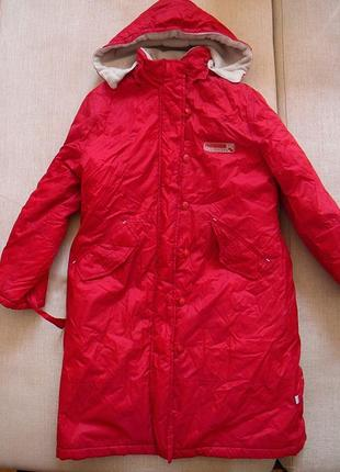 Красное пальто dada на синтепоне и флис