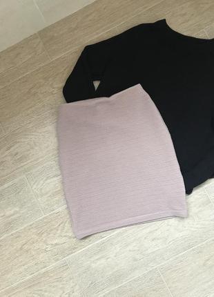 Женская мини юбка карандаш розового нюдового цвета на завышенной талии