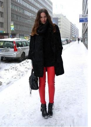 Зимние женские штаны брюки джинсы на флисе bibler красные xs-s флис