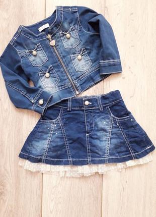 Джинсовый костюм, джинсовая юбка на девочку турция