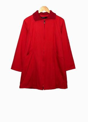 Яркий демисезонный красный плащ/пальто на флисовой подкладке