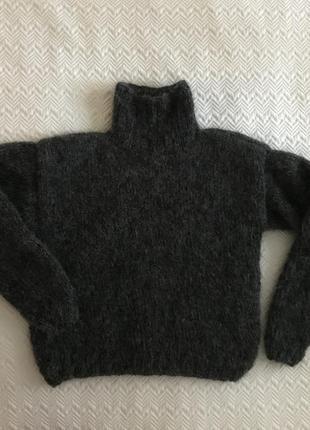 Свитер мохеровый тёмно-серый4