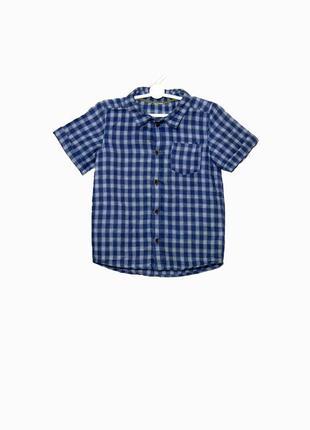 Стильная рубашка с коротким рукавом в клеточку на 2-3 года