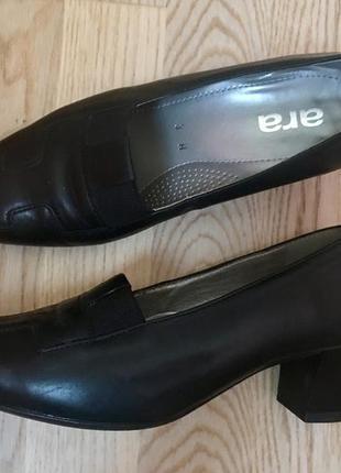 Кожаный туфли ara лоферы на устойчивом каблуке туфельки