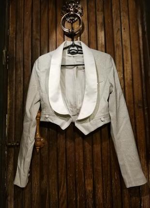 Сверкающий пиджак жакет укороченный болеро с люрексом атлас river island