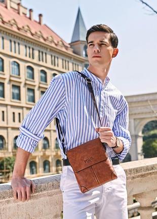 Мужская сумка через плечо, мессенджер polo vicuna v8807 коричневая