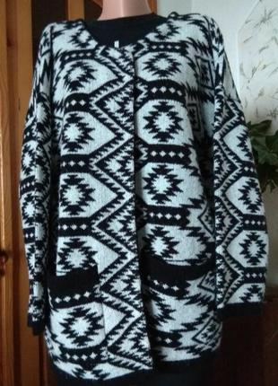 Красивенный бело-черный кардиган с карманами и черным кантиком# оверсайз/размер l