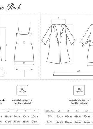 Jacqueline черный комплект набор халат с пеньюаром и стринги6 фото
