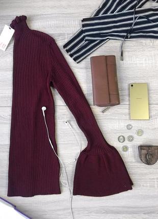 Стильний приталений гольф h&m насиченого бордового кольору