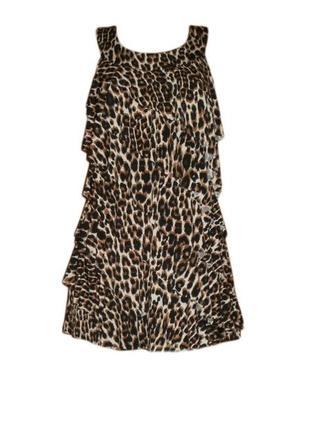 Леопардовое платье туника рюши воланы хищный анималистичный принт размер 14 наш 48
