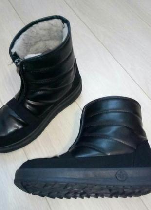 Черные короткие зимние ботинки, дутики, боты, луноходы