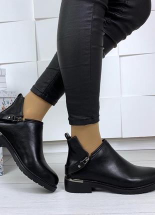 Рр 37-40 стильные черные ботинки с пряжкой сзади