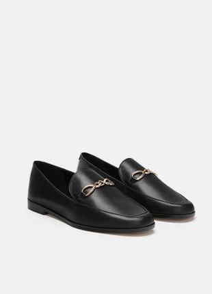 Кожаные лоферы 36-41 мокасины туфли zara оригинал натуральная кожа