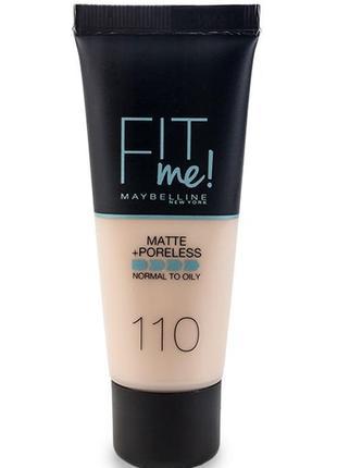 Maybelline fit me! matte+poreless 110 тоналка тональный крем