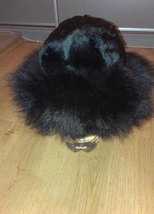 Натуральная меховая шапка морской котик + чернобурка