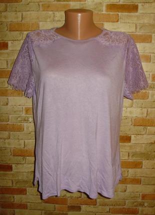 Красивая лиловая футболка с кружевом на плечах и рукавах 14/48-50 размера