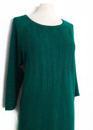 Очень красивое теплое изумрудное зеленое платье f&f