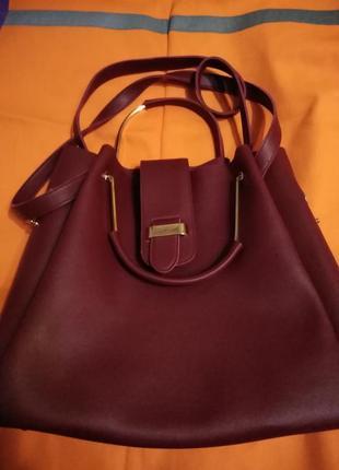Бордовая сумка шоппер мешок с двойными ручками на плечо.