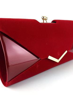 Вечерняя замшевая сумка клатч на цепочке красная лаковая на выпускной