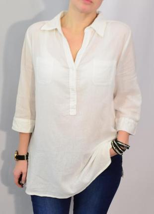 1331 жатая хлопковая белая рубашка riviera xl