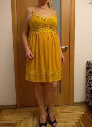 Стильное шикарное шифоновое платье. размер 10.