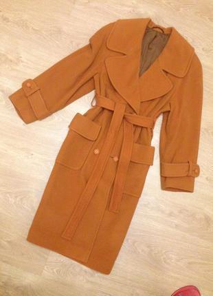 Пальто шерсть горчично-оранжевого цвета р-р 50-52