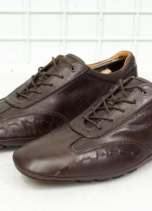 Легкие мужские кожаные туфли - мокасины clarks  размер 44,5-45 стелька 30 см