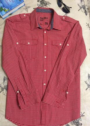 Мужская рубашка next красно-белая клетка длинный рукав