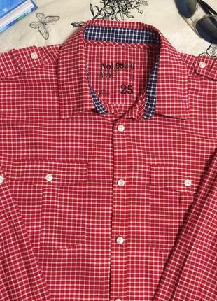 Мужская рубашка next красно-белая клетка длинный и короткий рукав2 фото