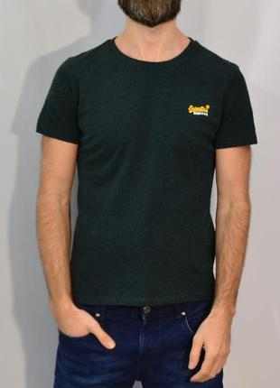 2680\30 темно-зеленая футболка из хлопка super dry m