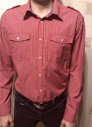 Мужская рубашка next красно-белая клетка длинный и короткий рукав5 фото