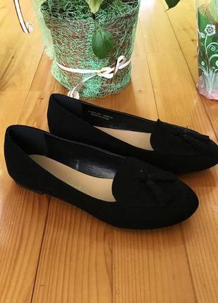 Балетки туфли замшевые чёрные 36 размер на стопу 22.5 см новые женские