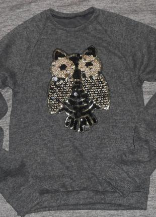 Свитшот с пайетками сова