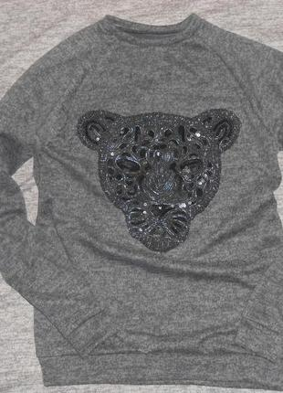 Свитшот  вышивка аппликация пайетки леопард