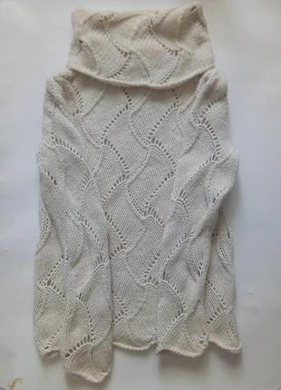 Классный длинный свитер с высоким воротом крупной ажурной вязки, s/m