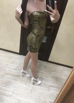Платье золотое мини