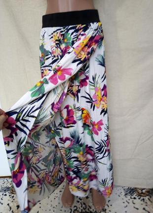 Яркая юбка в пол на широкой резинке/на запах/в тропический принт